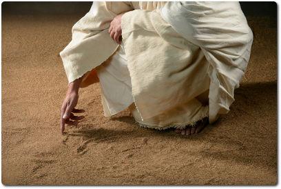 Messias schreibt in den Sand
